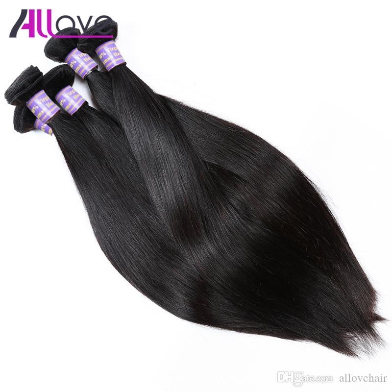 Ucuz 8A Brezilyalı Saç Demetleri 10 ADET Toptan Perulu Saç Hint İpeksi Düz Bakire Saç Demetleri Siyah Kadınlar Için Ücretsiz Nakliye