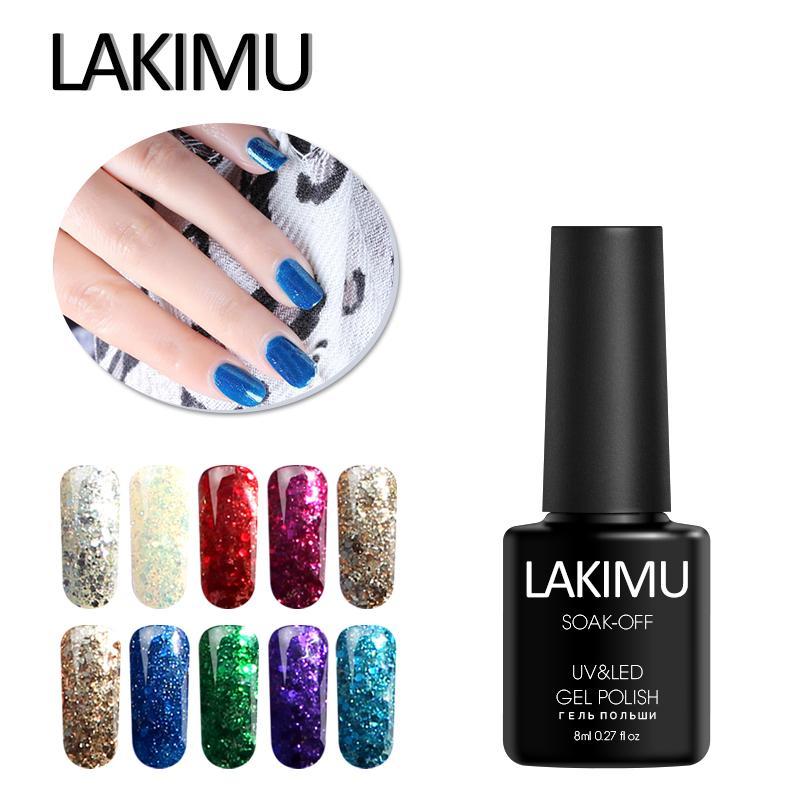 LAKIMU Nova Chegada UV Gel Nail Folha Boa Qualidade Manicure Diamante Glitter Soak Off Gel UV Polonês Nail Art Paillette polonês