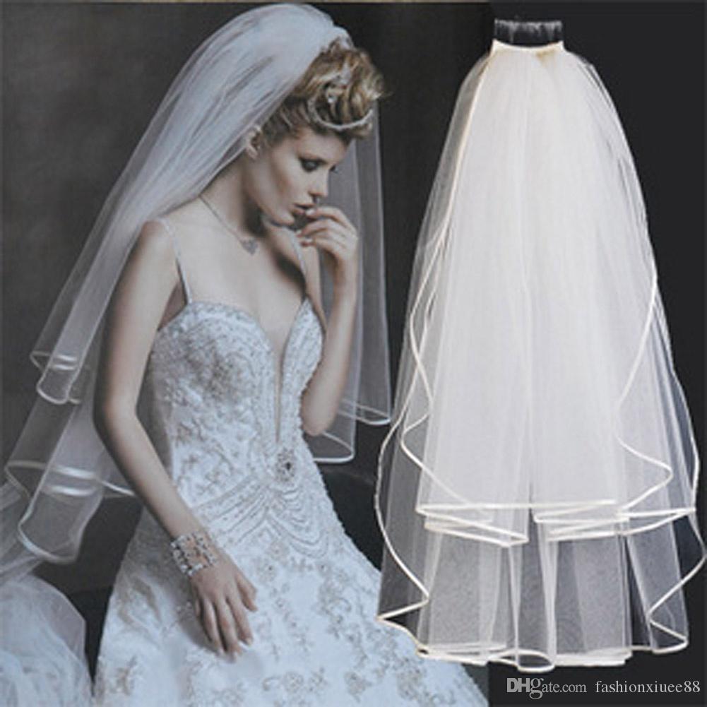 Горячие Продажи Ленты Свадебная Фата Гребень Лента Свадебные Два Слоя 2 Т Аксессуары Для Невесты Дешевые Фаты С Расческой