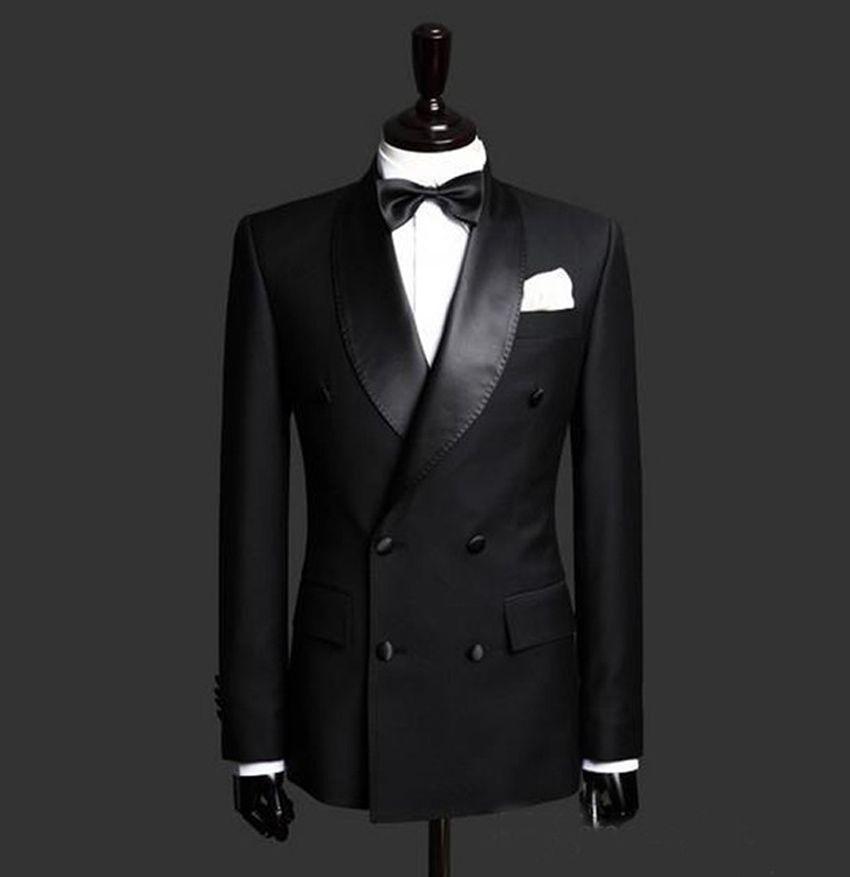Personnalisé de haute qualité noir personnalisé Business croisé hommes costumes costumes hommes (veste + pantalon + noeud papillon)