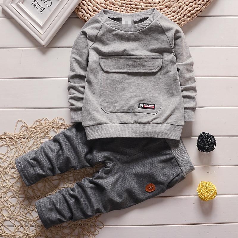 Одежда для малышей для малышей для мальчиков с длинным рукавом Футболка + брюки Хлопковый наряд Комплект детской одежды Детская одежда