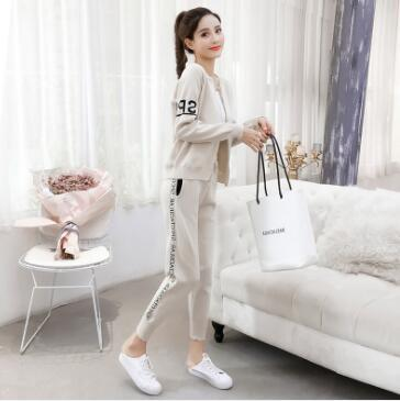 Sportswear suit, autumn new dress, pure cardigan, sweater, knitted trousers, two sets.