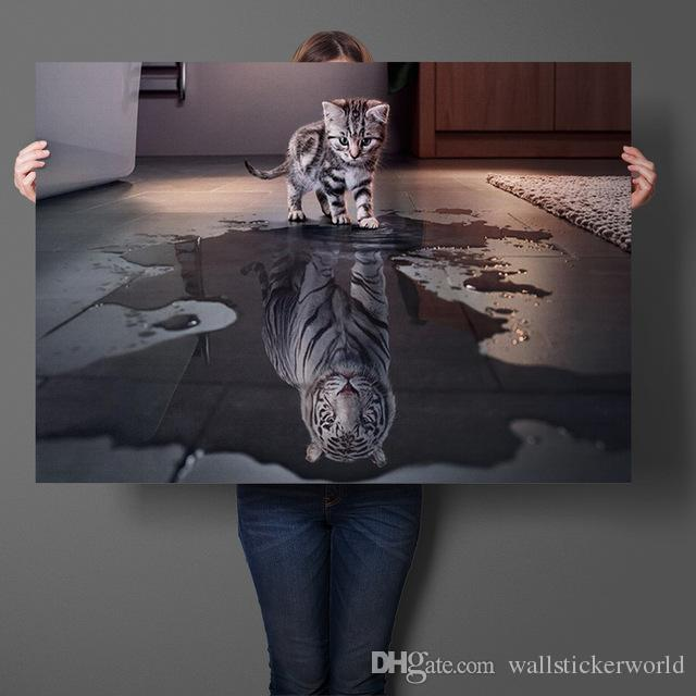 Cute Cat Reflection Tiger Wall Art Sticker Animal Art Prints Silk Fabric Poster And Print Wall Art Picture Painting Home Decor