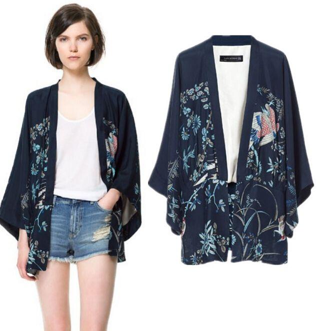 Phoenix impressão quimono manga morcego cardigan senhora quimono jaqueta mulheres capa outerwear