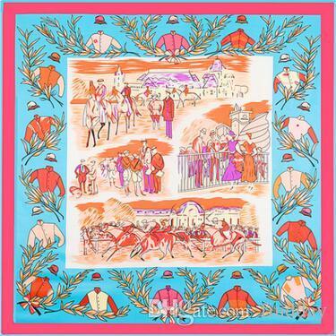 Trasporto libero di lusso di alta qualità Le nuove donne di stile H scialle h cachecol cavallo 130 centimetri * 130cm Royal Racecourse signore sciarpa di seta Scialle sciarpe