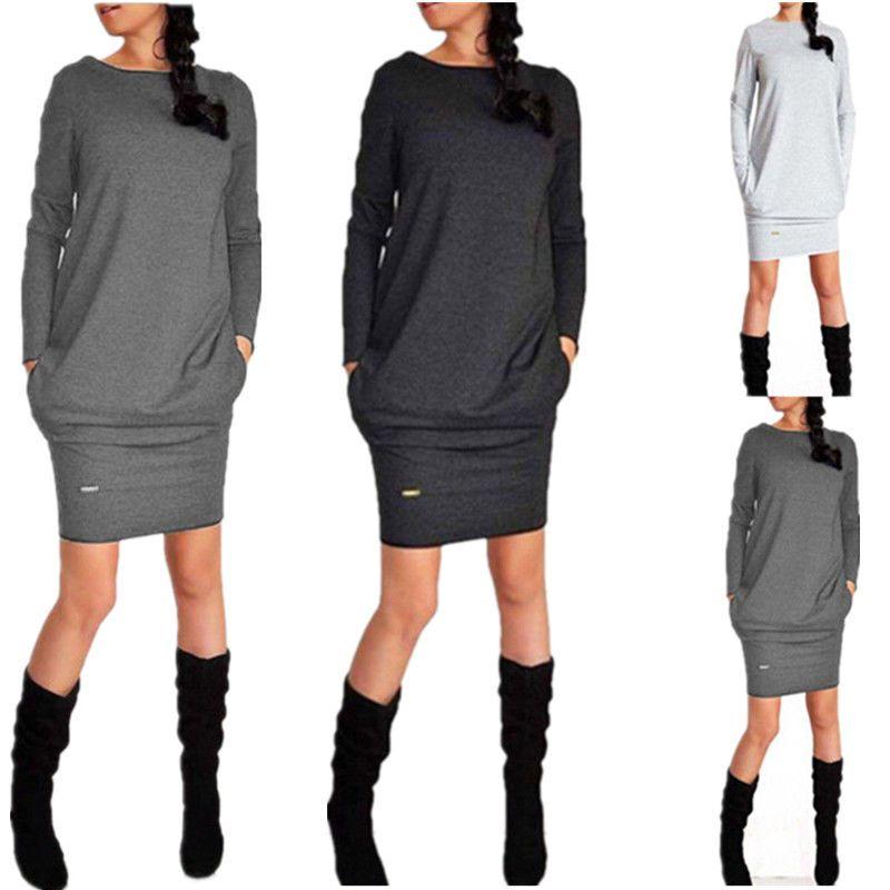 Bayan Giysileri için Elbiseler Moda Elbise Günlük Elbiseler İNGILTERE Womens Uzun Kollu Kazak Bayanlar Hoodies Kazak Üst Mini Jumper Elbise 6-18