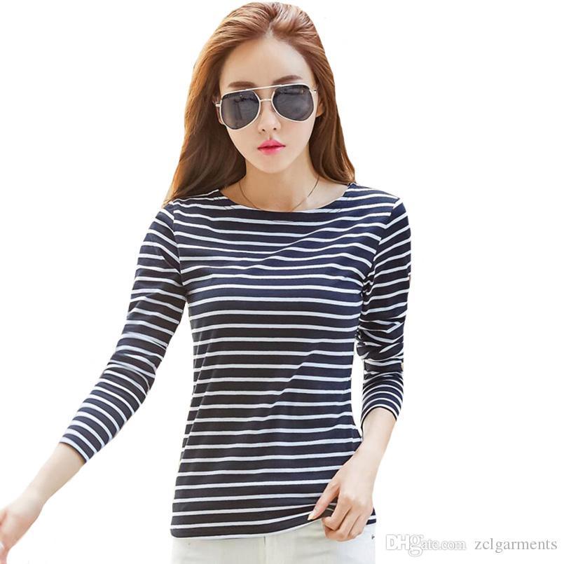Langarm-Frauen-Streifen-T-Shirt Qualitäts-Schrägstrich-Hals-Weiß-T-Shirt Dame Tops Plus Size T Shirs