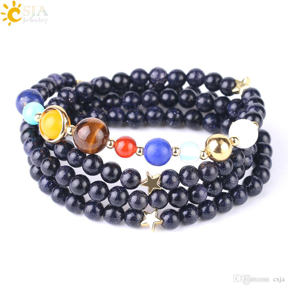 CSJA Universe Planets Solar System Beads Bracelet Natural Stone Multilayers Wrap Strand Bracelets Bangle for Women New Arrival Jewelry F544