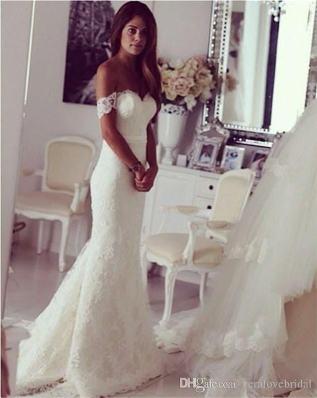 Abiti da sposa in pizzo modesto Abiti da sposa senza spalline Abiti da cerimonia su misura Abiti da sposa su rotaie