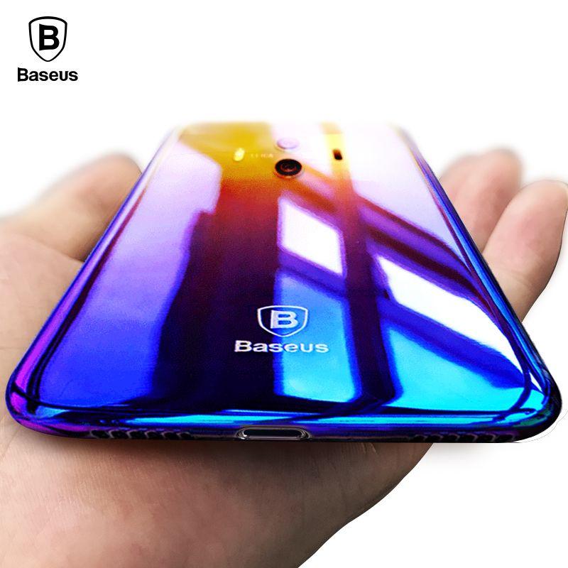 Baseus حالة فاخرة لهاتف هواوي Mate 10 Aurora Gradient Color شفاف غطاء PC صلب إلى Huawei Mate10 Coque Fundas