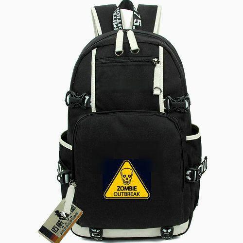 Zombie Ausbruch Tages Pack Warnhinweis Daypack Skull Schultasche Freizeit Packsack Laptop Rucksack Sport Schultasche Out Tür Rucksack