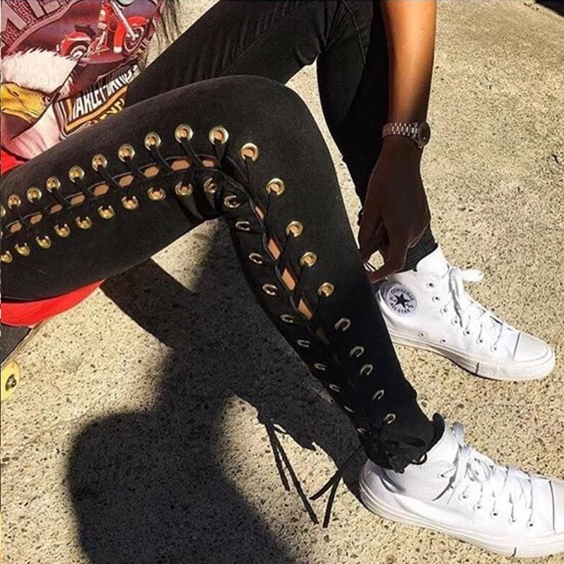 New Summer Women Taille haute avec œillet plongeant à lacets Jean skinny Sexy Pencil Jeans