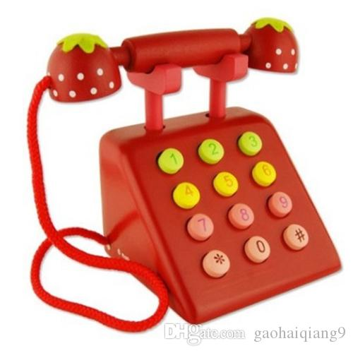 Simulación de juguetes de madera Teléfono de simulación digital cognitiva cognitiva de la primera infancia Pretende jugar juguetes de madera
