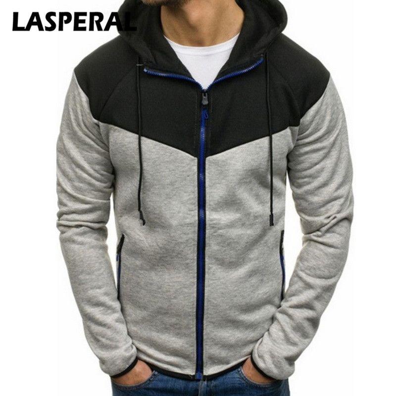 LASPERAL Plus Size 3XL Sudaderas Hombre Otoño Cremallera Patchwork Cardigan Sweatershirt Casual Streetwear Mens Hoodies Sweatershirt