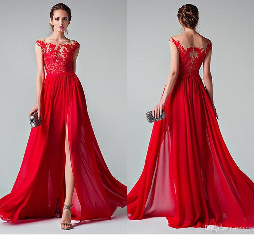 Großhandel Rabatt Sexy Split Rote Abendkleider Lange Spitze Chiffon Weg Vom  Schulter Abendkleider 9 Partei Kleider Nach Maß Verpflichtungs Kleider