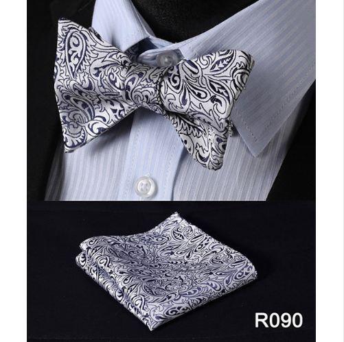 Floral 100% Tecidos De Seda Homens Borboleta Bow Tie BowTie Bolso Lenço Quadrado Hanky Terno Set # RF5