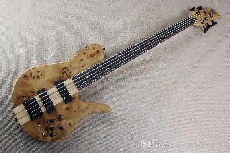 Free shipping Custom Shop Natural Wood Burl One Neck Through 5 Strings Butterfly Electric Bass Guitar