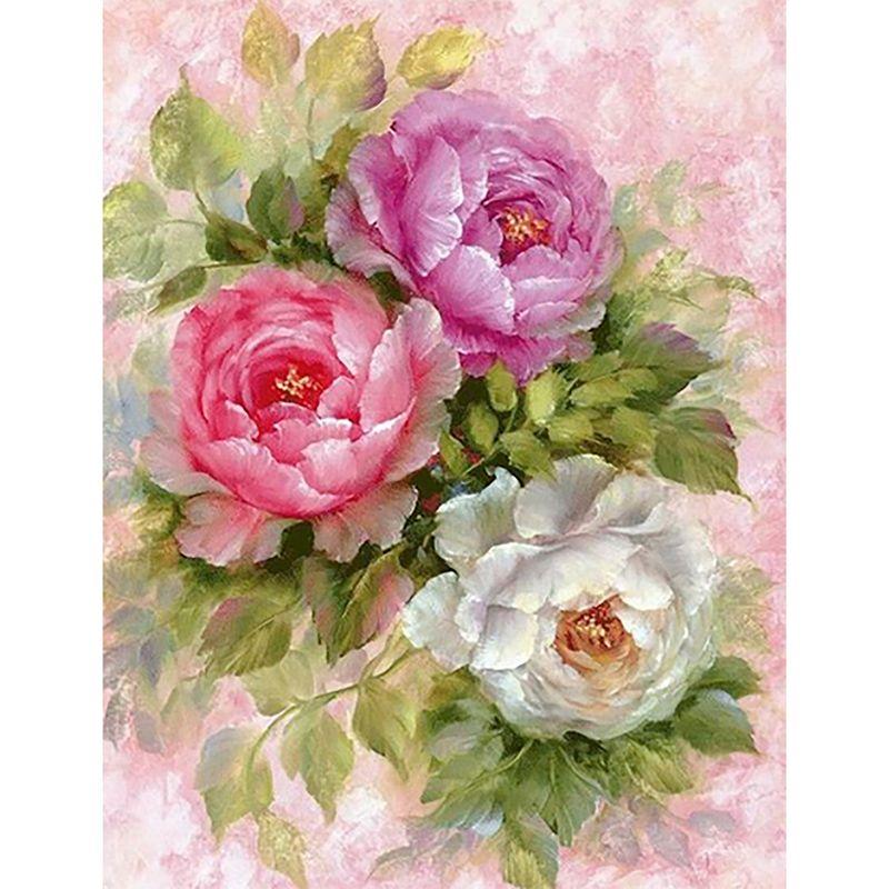 5D fleur vase peinture dessins fleur rose pleine pâte en coton point de croix point de croix décoration de maison peintures drop shipping