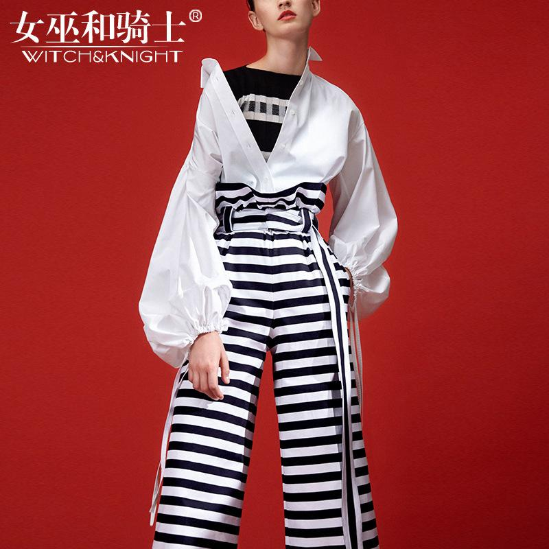 Suit 2018 Autumn Long Sleeved Lantern Sleeve White Shirt, Waist Tied with Stripe Color Crash Wide Leg Pants, Personality Two Pieces.