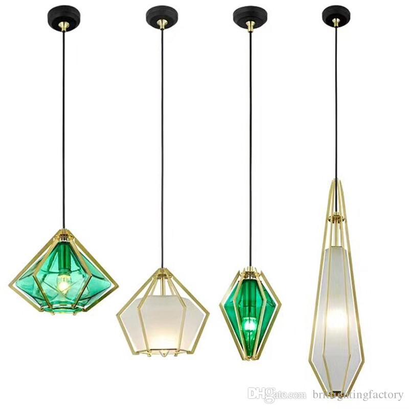 Elmas Cam Kolye Işık Galvanik Cam Yemek Odası Kolye Lamba Yaratıcı Kişilik Yeşil Asılı Işıklar Mutfak Nordic Aydınlatma