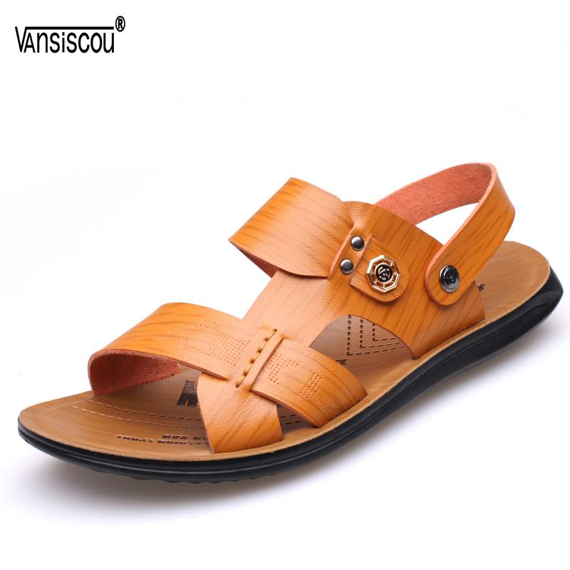 VANSISCOU Men Summer New Leather Beach Sandals Anti-skid Soft Comfy Flip Flops Beach Slippers Male Open Toe Outdoor Shoes