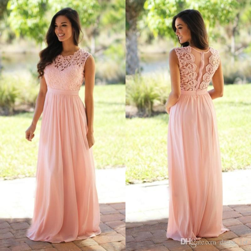 2019 Latest Country Bridesmaid Dresses Long Jewel Neck A Line Blush Pink Pretty Lace and Chiffon Elegant Maid of Honor Dresses Formal Gowns