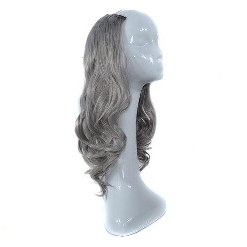 Larga onda sintética de cuerpo medio Peluca Granny Grey Pelucas de cabello No Bang Peluca para mujer Peluca resistente al calor