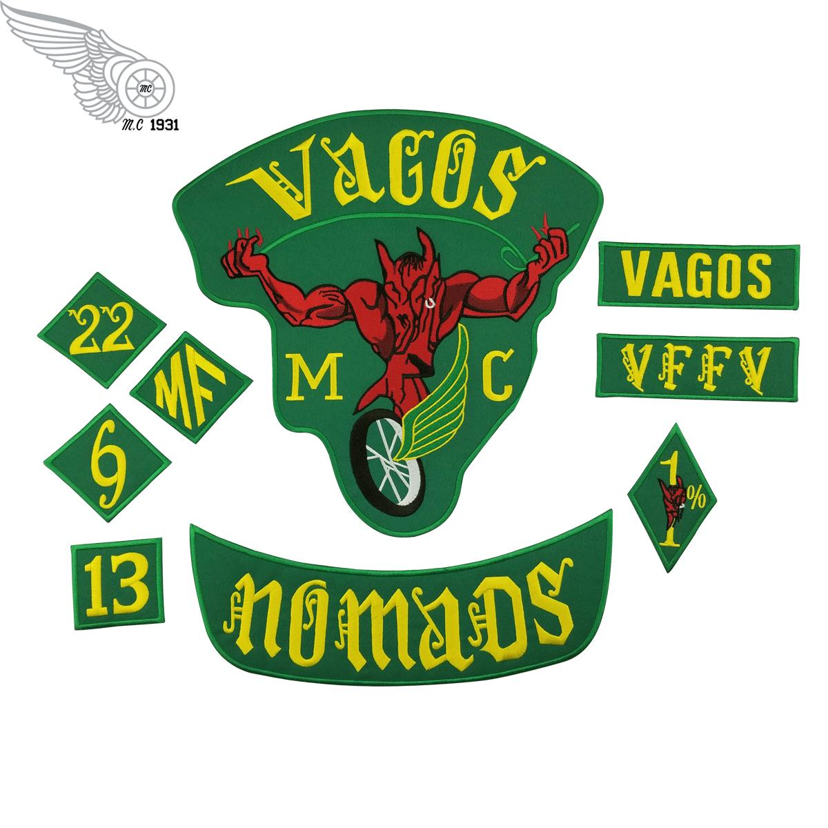 Fashion Vagos 1% MC Full Of Jacket Vest Embroidered Patch Green Motorcycle Biker Vest Patch Rock Punk Patch 9 Pcs/ Lot Free Shipping