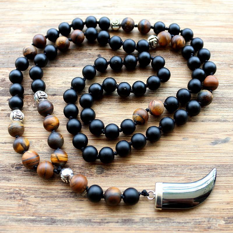 collier perles noires homme