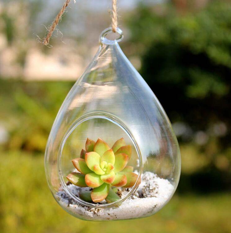Yeni Gelmesi Su Tear Drop Cam Asılı Ekici Konteyner Vazo Pot Teraryum Dekorasyon