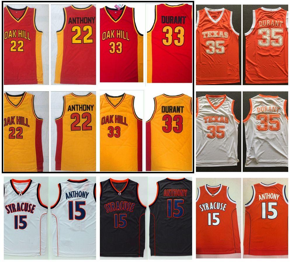 오크 힐 고등학교 Carmelo Anthony Kevin Durant 농구 저지 시러큐스 오렌지 15 Anthony 텍사스 Longhorns 35 Durant College Shirt
