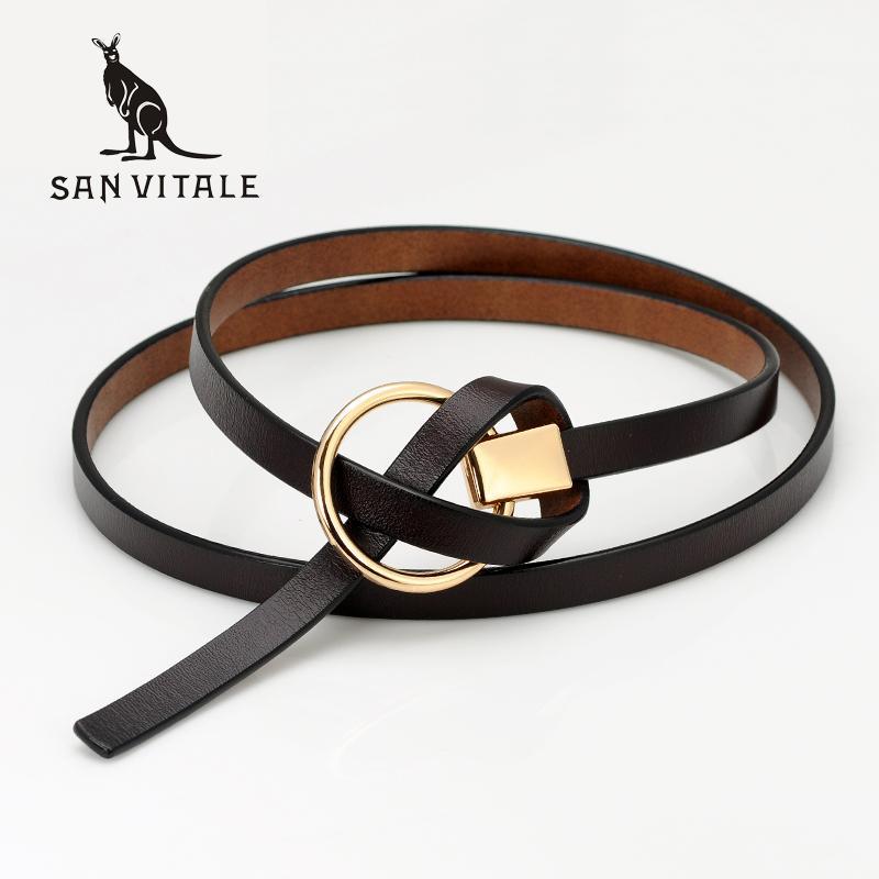 2017 nuevo diseño de las señoras correas de las mujeres correa de cuero genuino ocasional femenina Cinturones de cuero de vaca para los estudiantes de vestir faldas de color puro