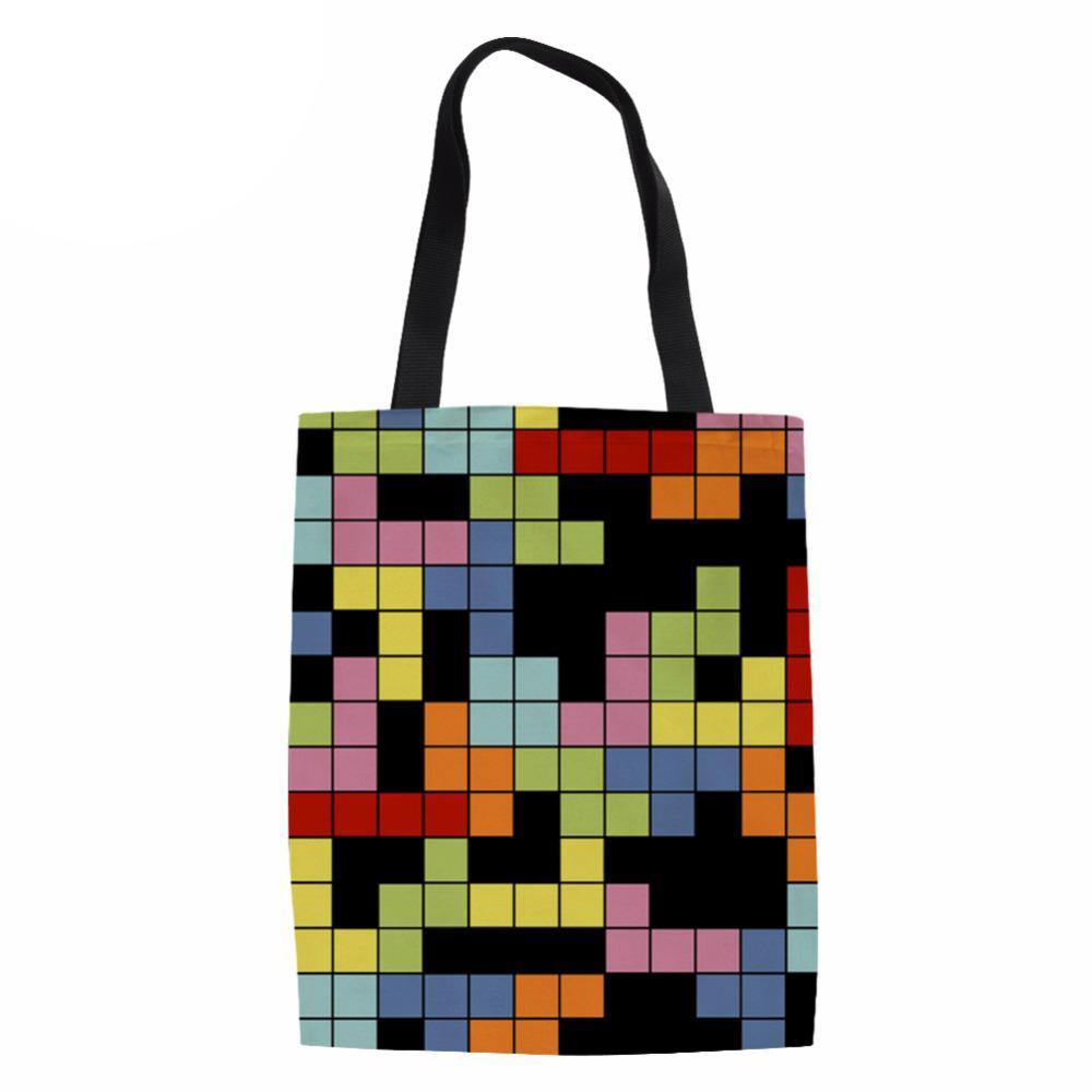 Tetris Sınır Baskı Bayanlar Görev Tuval Kadın Çantası El Yapımı Alışveriş Okul Seyahat Kadınlar Katlanır Omuz Alışveriş Torbaları
