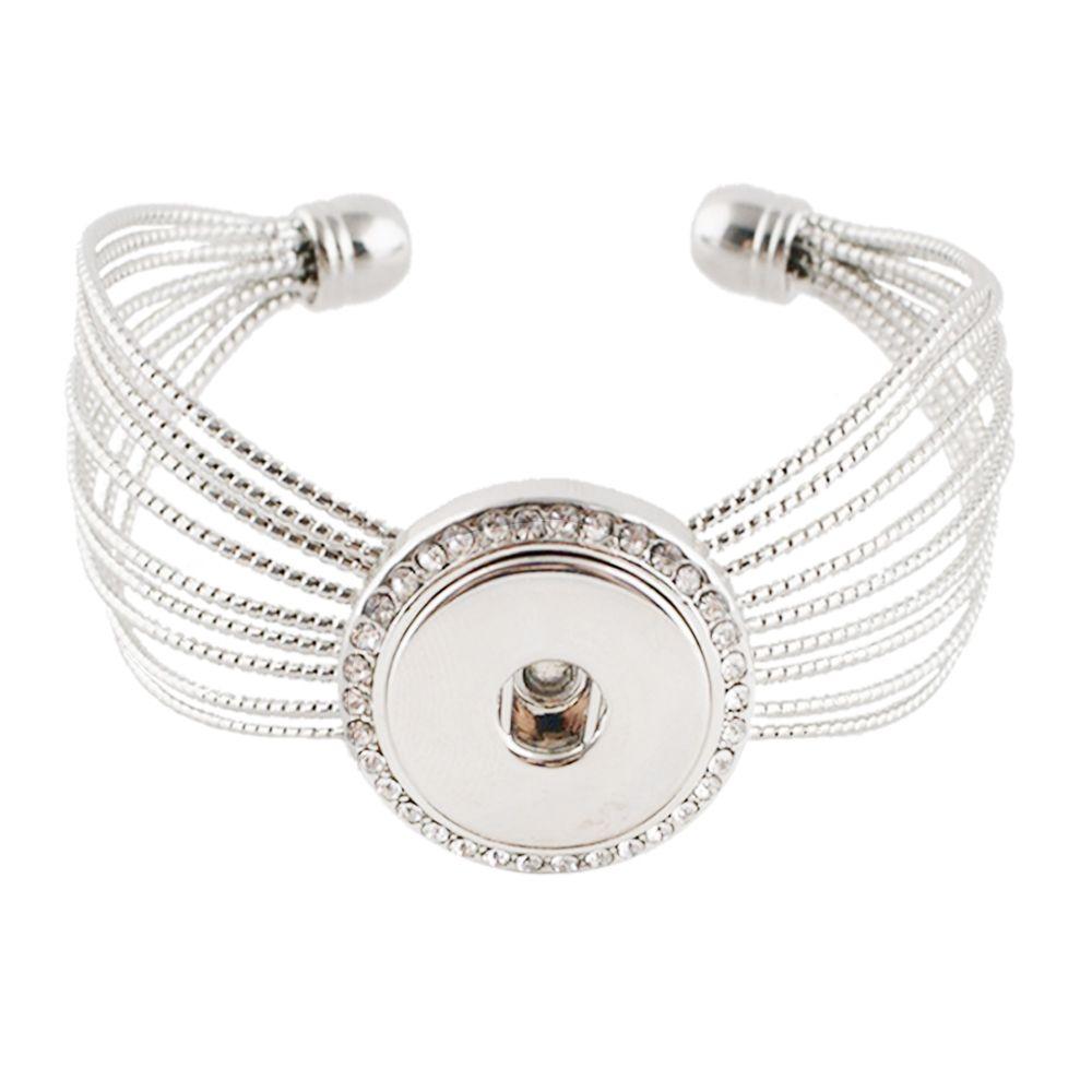 Vintage Silver Snap Bracelet DIY Snaps Bracelets Elasticity Adjustable Bangles fit 18mm Snaps Buttons Jewelry For Women