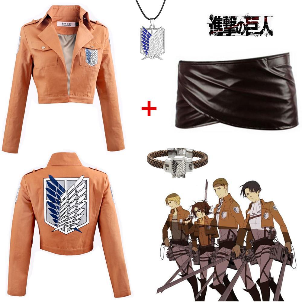 Tamaño asiático Japón Anime ataque en Titán Unisex Allen Shingeki No Kyojin traje Cosplay capa de manga larga falda de la chaqueta conjunto completo