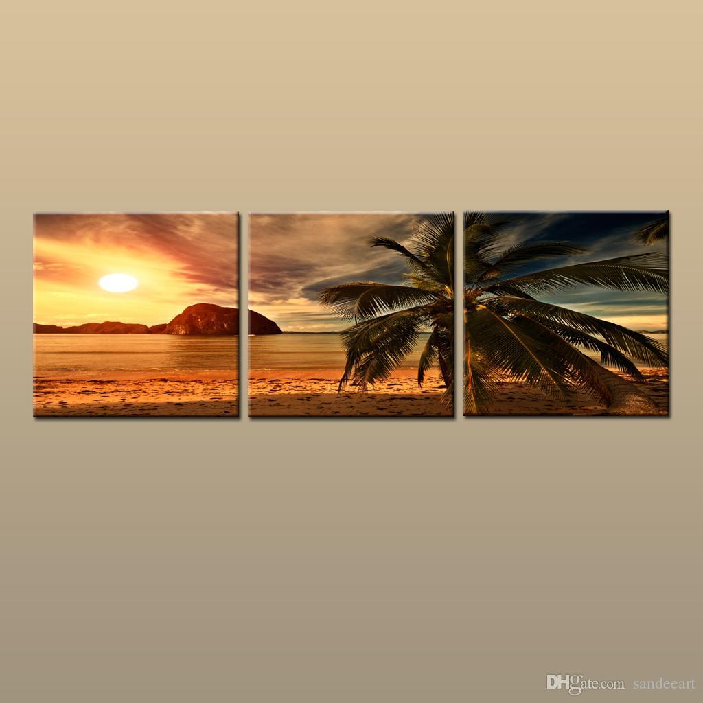 مؤطر / غير المؤطرة كبير المعاصر جدار الفن الطباعة على قماش هاواي شجرة النخيل شاطئ الغروب الوهج المناظر الطبيعية 3 قطع صورة ديكور المنزل abc29