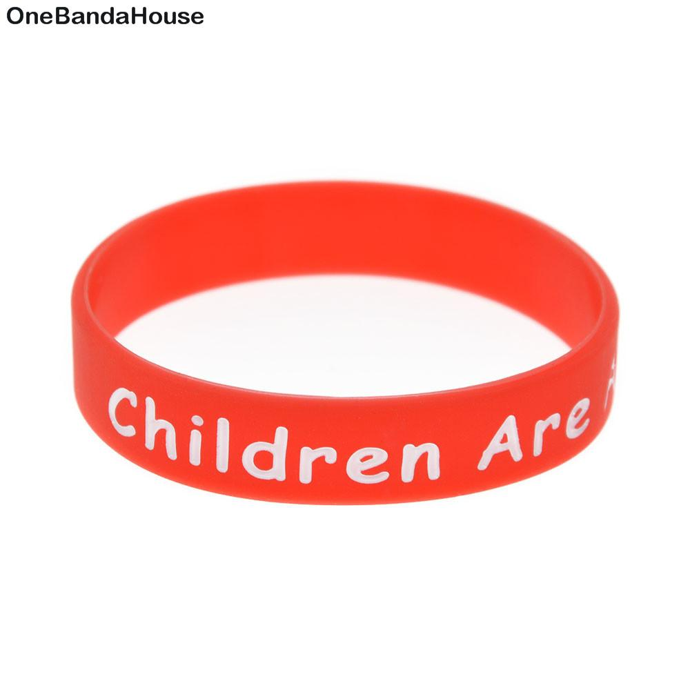 100PCS Children Size Silicone Rubber Bracelet Says Children are Awesome Creative Kind Our Future Smart Unique