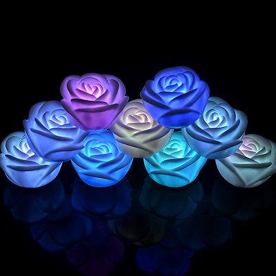 Colorful LED Candle Romantic Night Floating Rose Flower 7 Colors Changing Light Lamp Glow in the Dark Dinner Home Decor 1PCS