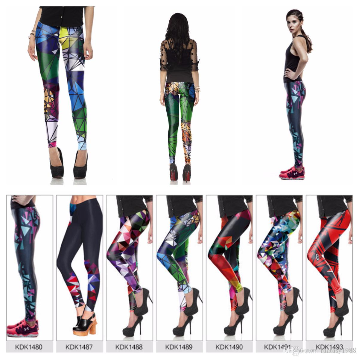 Moda Feminina Legging Girls Calças apertadas Impressão Skinny Lápis Calças Yoga Fitness Leggings Coloridos 7 Poliéster Estilo
