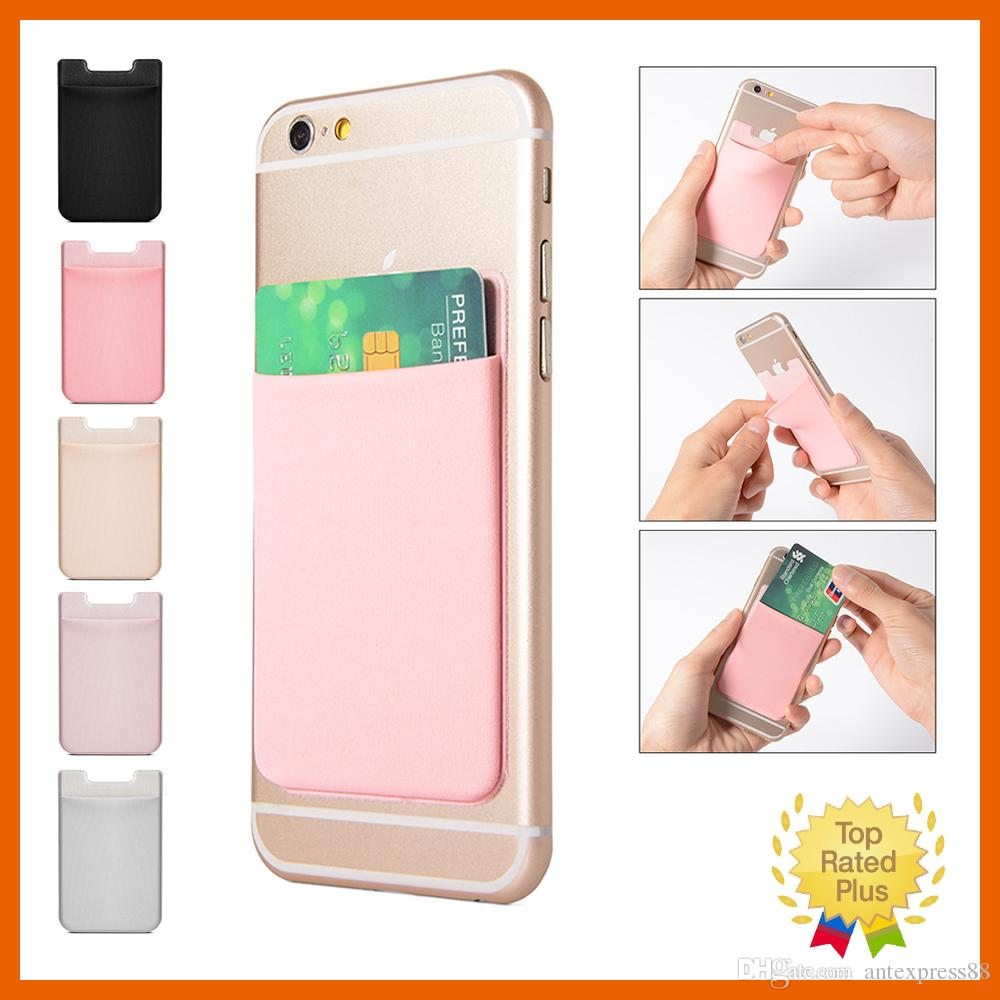 Lycra Mobile Phone Wallet Credit ID Card Holder Pocket Adhesive Sticker for iPhone 5 6 6s 7 Plus Samsung