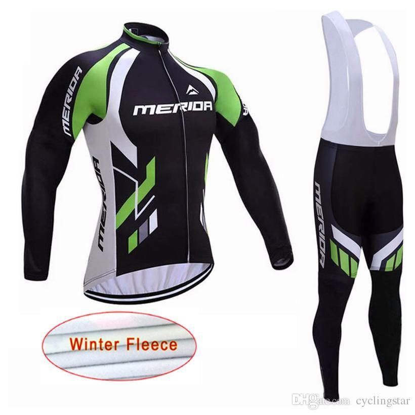 New 2018 Merida Team pro mens Cycling Jersey Winter Thermal Fleece long sleeve Bike Wear mtb bicycle clothing 82303Y