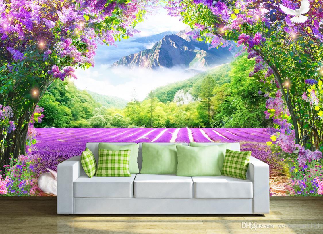 Custom 3d Photo Mural Wallpaper Lavender Flower Vine Tv Backdrop