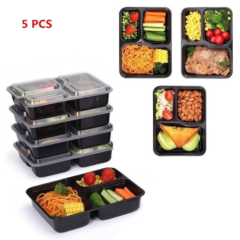 Kapaklar plastik yemek kutusu Piknik Gıda Saklama Kutusu mikrodalga ve bulaşık makinesi Safe ile 3 Bölme Gıda Saklama Kapları