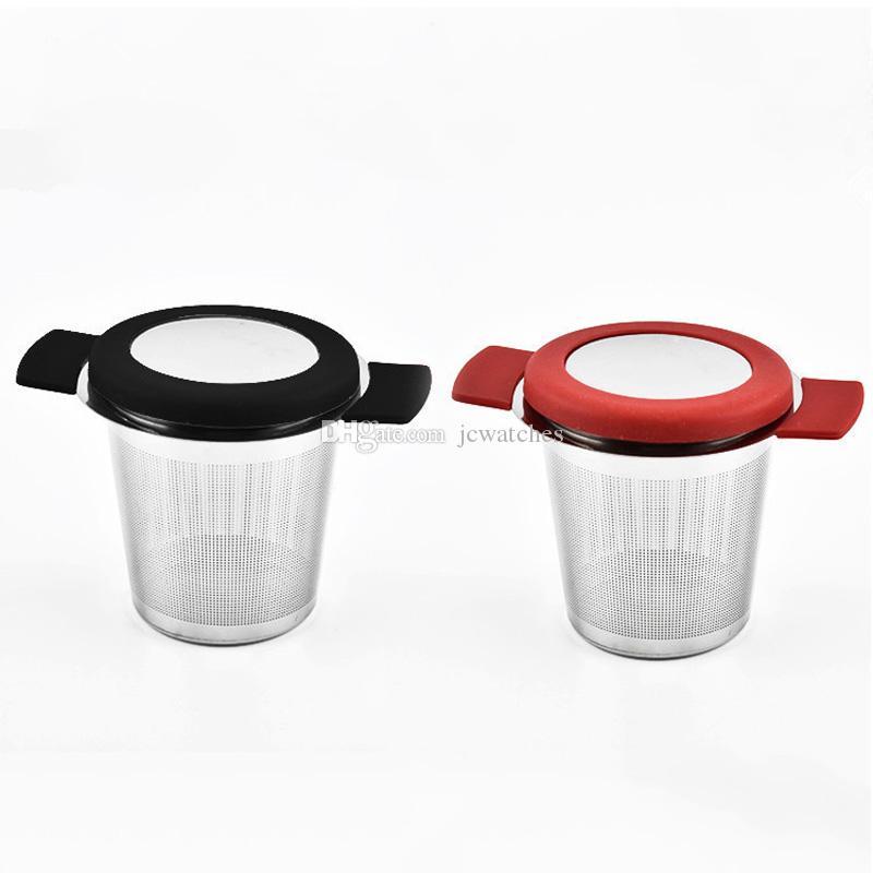 Wiederverwendbare Edelstahl-Tee-Korb Fine Mesh Teesieb mit 2 Griffen Deckel Kaffeefilter für lose Teeblatt