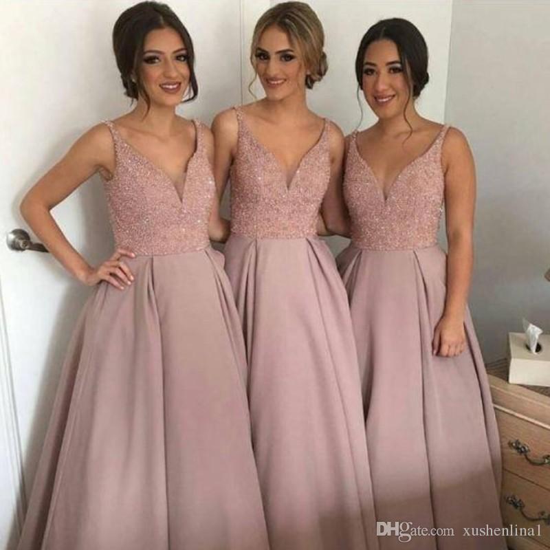 2018 V Neck A-Line Druhna Suknie Cekiny Frezowanie Piętro Długość Satynowa Maid of Honor Dress Modest Wedding Party Suknie Prom Dress