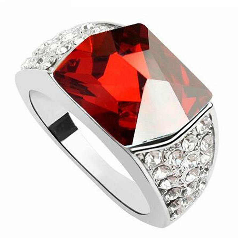 Acheter Cristal Rouge De Swarovski Elements Bagues De Fiançailles Pour Les  Femmes Cadeau Doigt Bijoux De Mariage Mariée Accessoires Blanc Plaqué Or ...