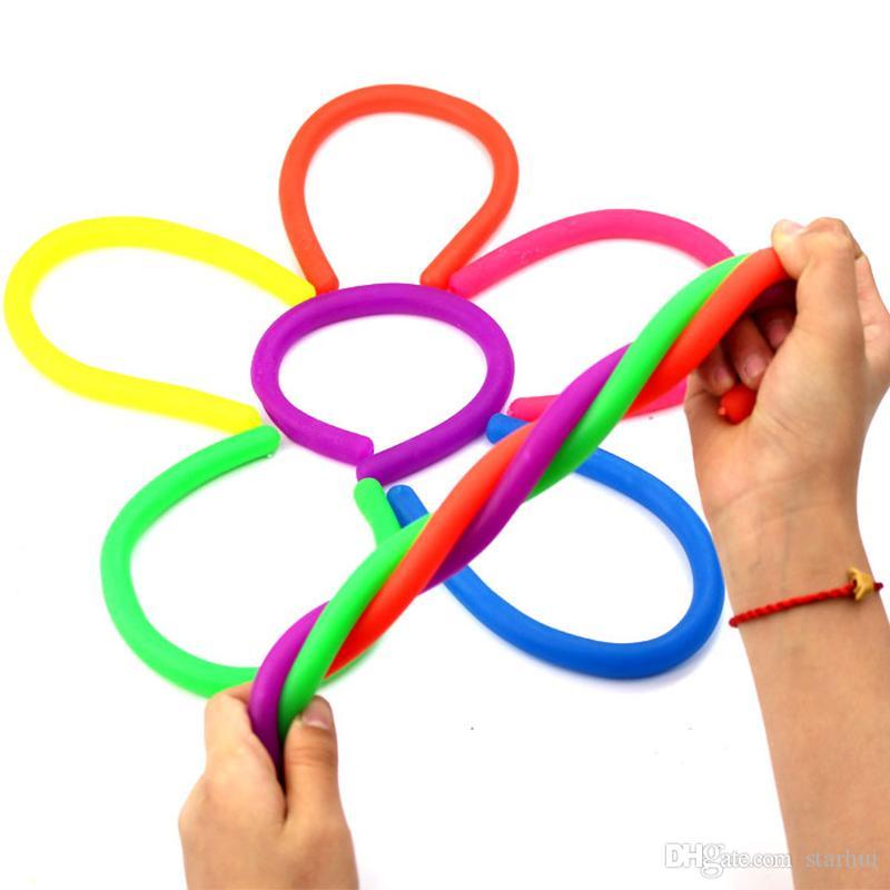 Novidade Ambiental Corda Descompressão Fidget Abreact Flexível Corda Cordas De Macarrão Corda Stretchy Neon Slings Crianças Brinquedos Para Adultos WX9-372