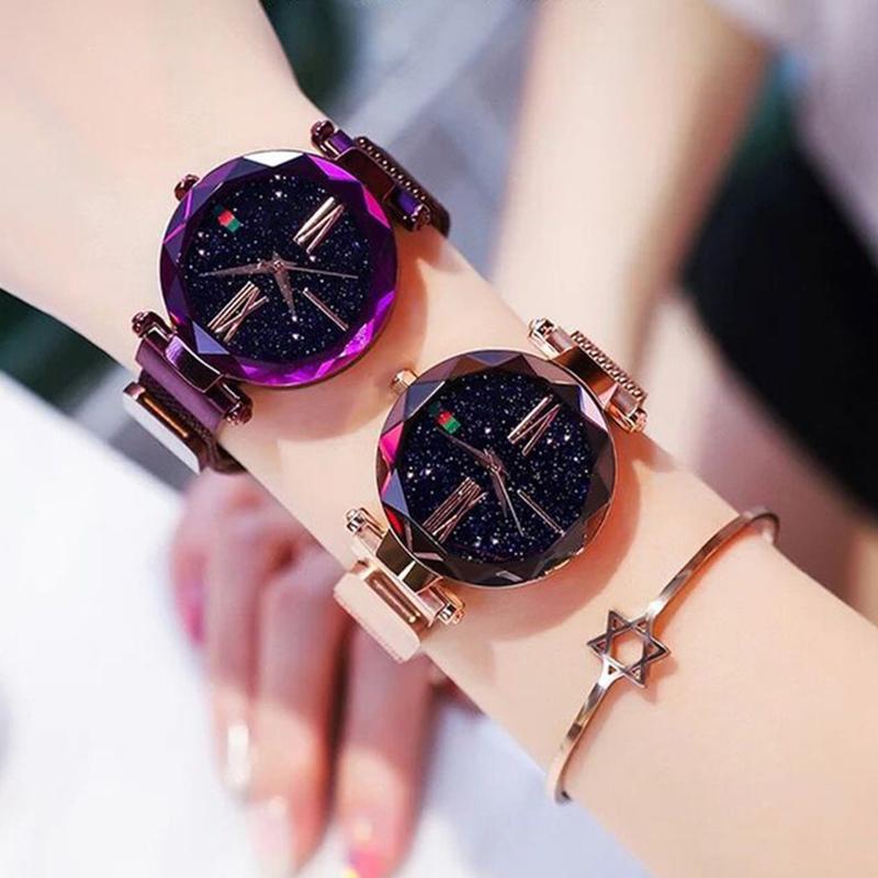 Роскошные Дамы Звездное Небо Часы Розовое Золото Женщины Браслет Часы Магнитные Bukle Сетки Мода Повседневная Женский Водонепроницаемый Часы Reloj Y18110310