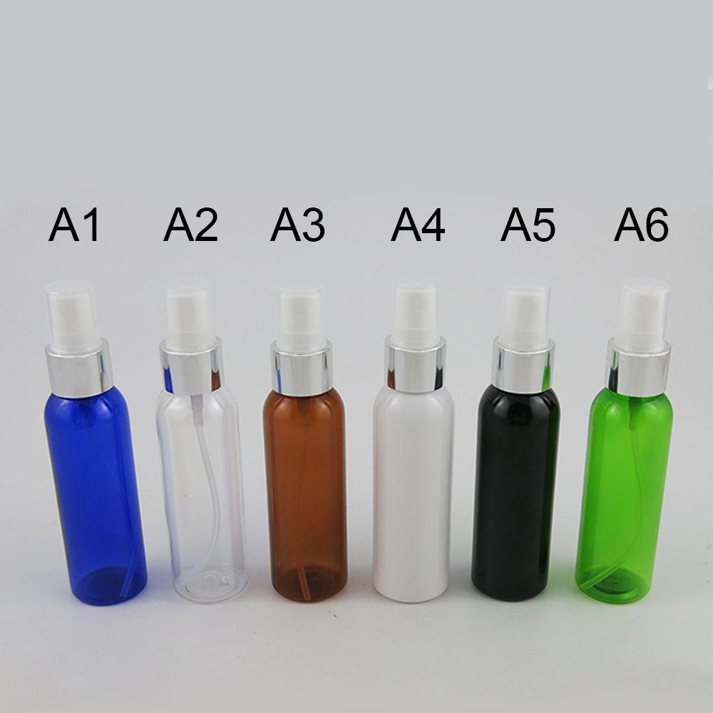 50 x 60ml spray Ámbar Negro Azul Verde Claro plástico PET blanco botellas de relleno vacío 2 Oz bomba de niebla perfume viajes
