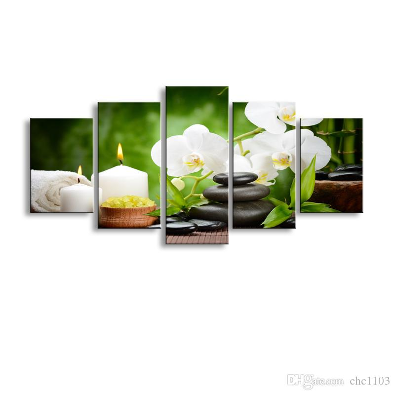 5 pieces high-definition print orchid canvas oil painting poster and wall art living room picture PF5-005